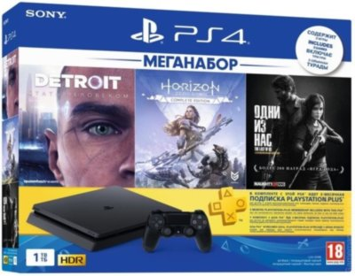 PlayStation 4 Slim 1Tb (Horizon Zero Dawn Complete Edition + Detroit + The Last of Us + PSPlus 3М)